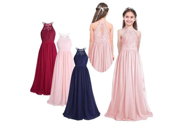 Girls Sleeveless Lace Chiffon Halter Flower Girl Dress Princess Pageant Wedding Kids First Communion Tutu Maxi Long Dress<br />&#8221; width=&#8221;587&#8243; height=&#8221;400&#8243; /></td> <td style=