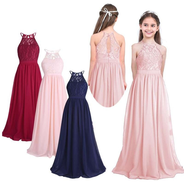 4b6c64c8b2 Girls Sleeveless Lace Chiffon Halter Flower Girl Dress Princess ...