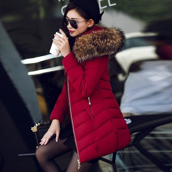 d25631012 Winter Women Jacket Fashion Long Thick Warm Down Cotton Jacket Women High  Quality fake Fur Collar Slim Coat Overcoat Parka