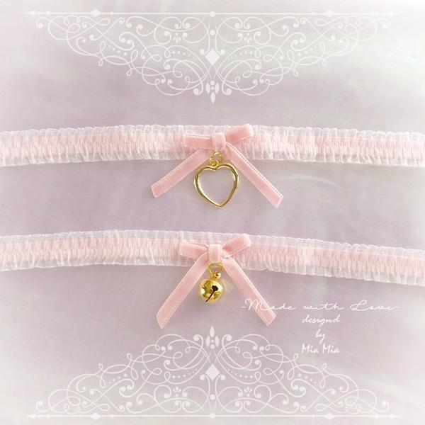 5297bb6692074 Kitten Pet Play Cat Collar Choker Necklace Baby Pink Lace Velvet Bow Gold  Heart or Bell kitty pastel goth Lolita Neko BDSM DDLG