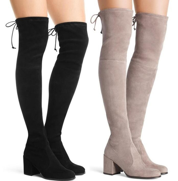 Womens Ladies Low Heel Thigh High Over The Knee Stretch Riding Boots  0242 by Wish