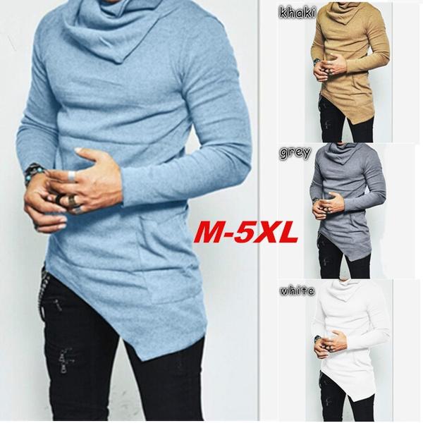 da819cb8 5 Colors Plus Size Unbalance Turtle Shirring Pocket Long Sleeve T ...