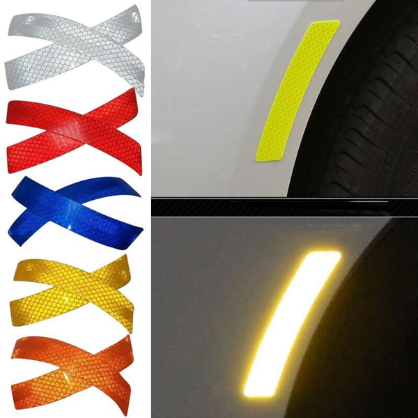 2pcs Car Reflective Strip Stickers Warning Wheel Rim Eyebrow Safety Warning Light Reflector Protective Sticker Car Styling