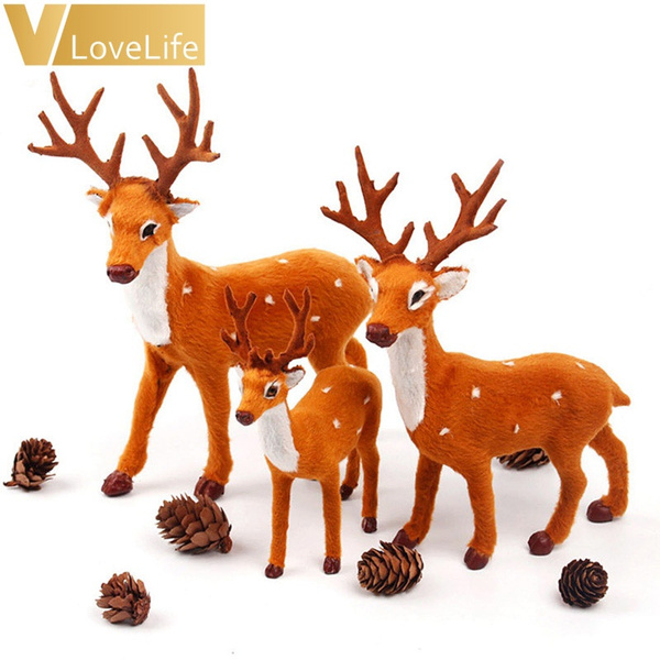 Wish | Xmas Elk Plush Simulation Ornaments New Year Christmas Deer ...