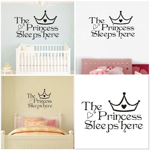 Newest The Princess Sleeps Here Wall Sticker Kids Girls Room Removable  Bedroom DIY Decor PVC Decals