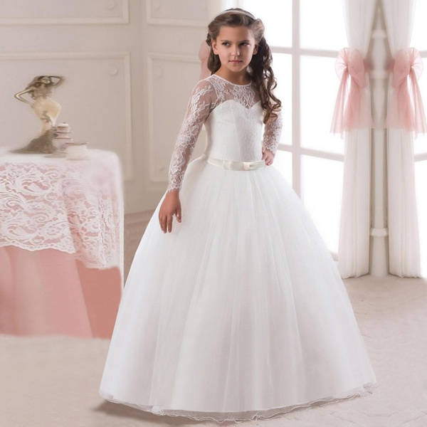 3a831b5ed Girl's Long Sleeve Lace Dress Kids Formal Party Evening Dresses Children  Pageant Wear Wedding Flower Girl White Gowns | Wish