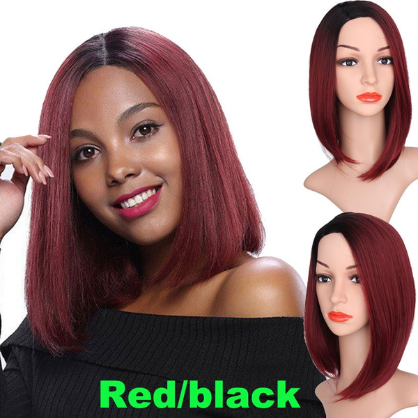 Wish Bob Straight Bob Wig Synthetic Short Ombre Red Hair