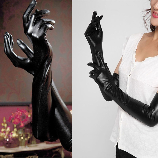 Wish Black Wear Costumes Leather Catsuit Faux Fetish Adult Long Latex Gloves Sexy