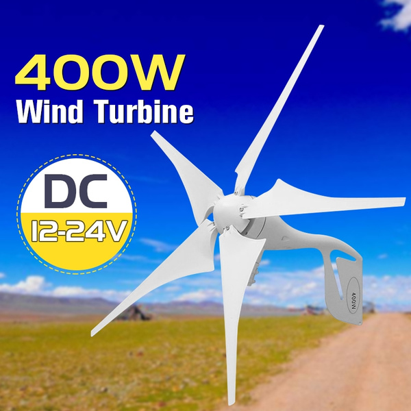 5 Blades 400W Wind Turbine Generator DC 12V 24V with Waterproof Charge  Controller