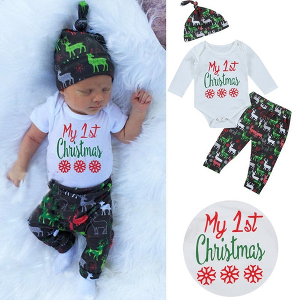 daa32f376 3pcs Set Newborn Baby First Christmas Clothes Romper Pants Hat Boys ...