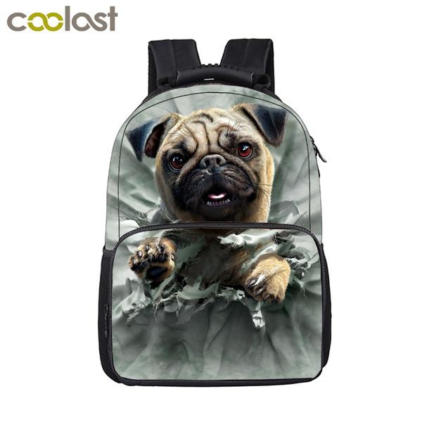 Kawaii Pug Dog Backpack For Teenage Boys Girls School Backpack Children  School Bags Kids Puppy Book Bag Women Men Laptop Backpack