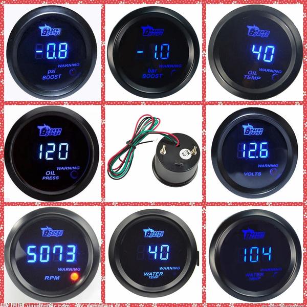"""Black 2/""""  Digital LED Electronic Oil Press Pressure Gauge"""