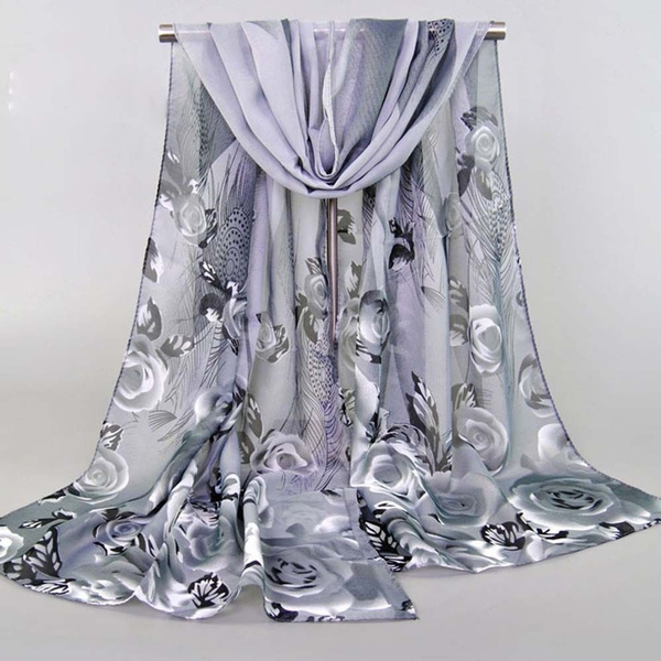 New fashion women/'s ladies chiffon floral scarf soft wrap long shawl 160CM long