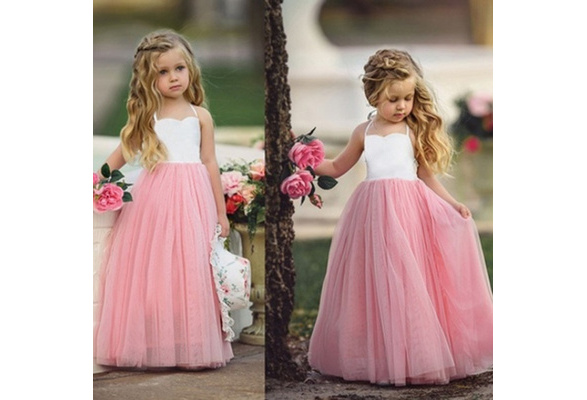 Girls Princess Net Yarn Dress Kids Little Girls Party Wedding Bridesmaid Tutu Dress