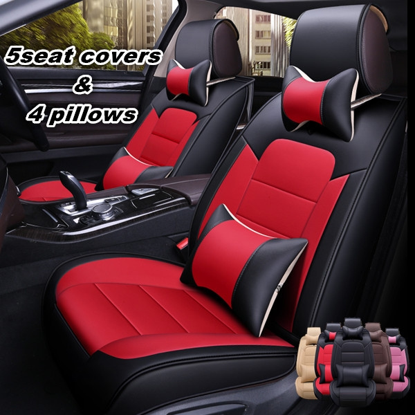 Fashion Color Block PU Leather Car Seat Covers Universal Leather Car Seat  Cushion Cover Protector