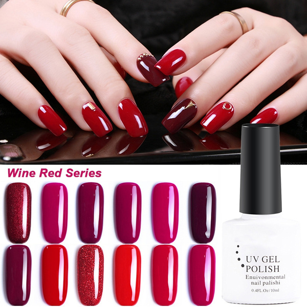 Women Fashion Classic Wine Red Series 12 Colors 10 Ml Phototherapy Nail Polish Beauty Long Lasting Removable Gel Nail Polish Colored Nail Art Liquid