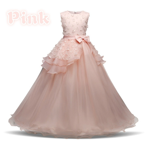Wish | Kids Girl Blue Tulle Dress Fashion Bow Princess Gowns ...