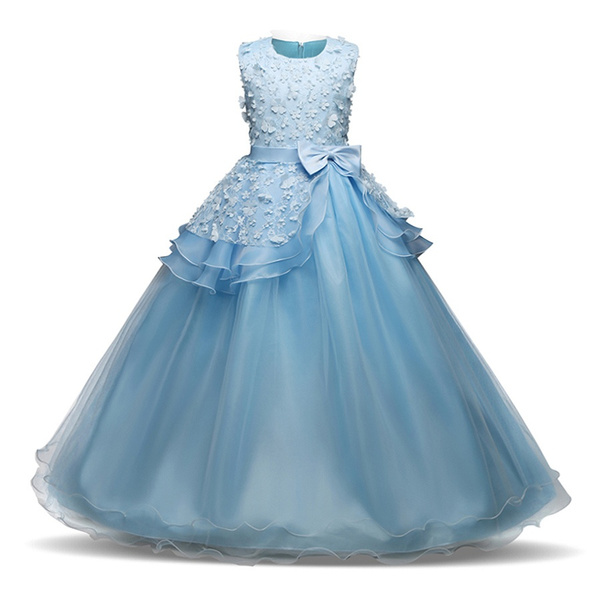 5f85bfb86 Kids Girl Blue Tulle Dress Fashion Bow Princess Gowns Children ...