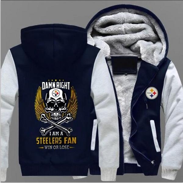 sports shoes da3e0 f1039 Steelers Fan Thickened Winter Warm Cashmere Jacket Plus Size