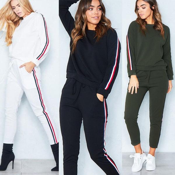 Lady 2Pcs Tracksuit Hoodies Sweats Sweatshirt Pants Sets Sport Wear Casual Suit