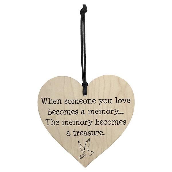 Memories Become Treasures Wooden Hanging Heart Plaque Shabby Chic Memorial Sign