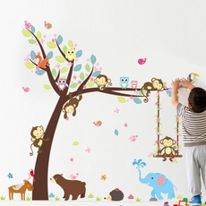 monkey, Owl, Decoración, catoonwallsticker