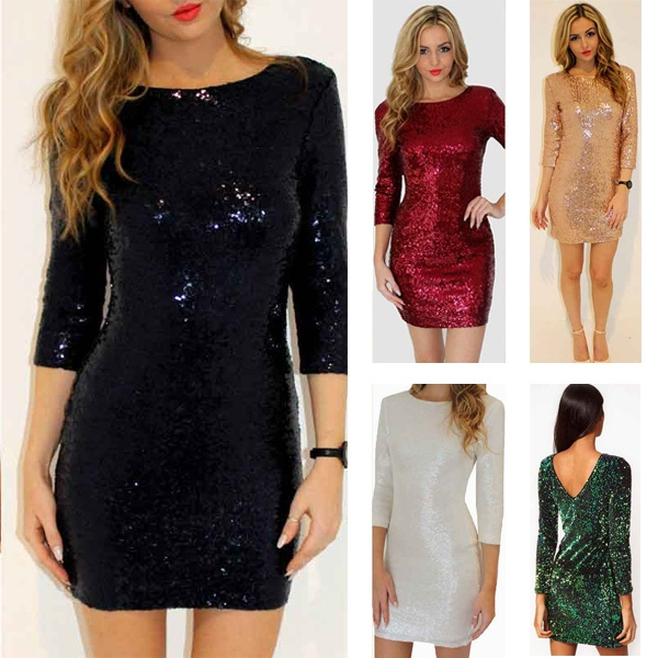 Women Summer Sequin Glitter Dress Sexy Club Long Sleeve V Neck Green Bodycon Dress Sexy Braidsmaid Party Vestidos De Festa
