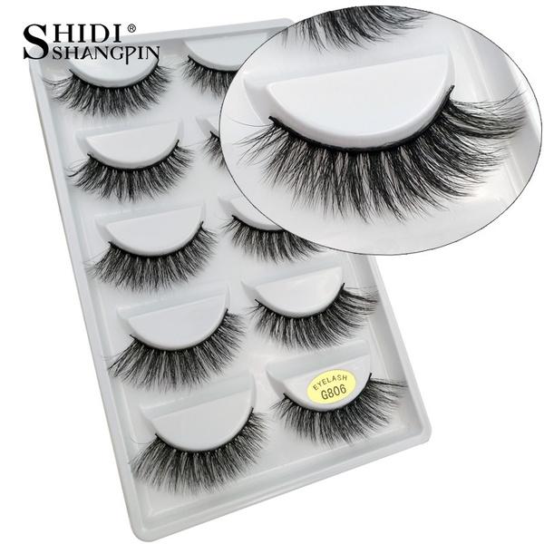 9b50d523eb7 5 pairs 100% Real Fake Mink Eyelashes 3D Natural False Eyelashes 3d ...