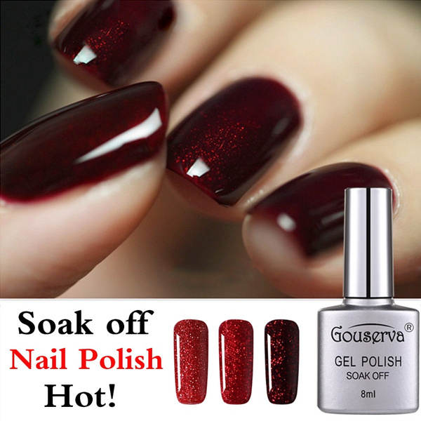 Gouserva Wine Red Glitter Starry Gel Nail Polish For Party Makeup Soak Off Varnish Need Led Lamp Red Color Wine Charm Gel Nail Polish
