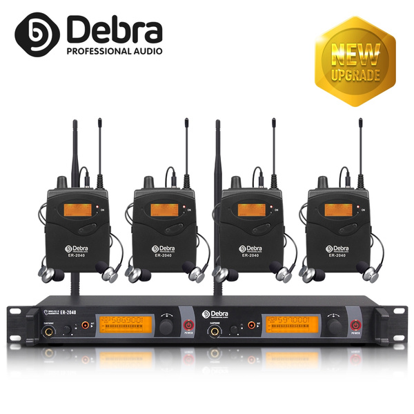 2019 New Update!!!The best sound quality!!! Debra Audio Professional UHF In  Ear Monitor System! Dual Channel Monitoring ER-2040 Type For Stage