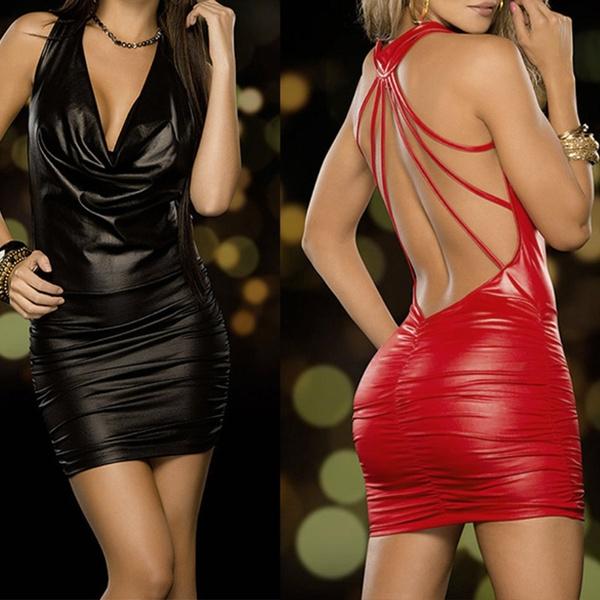 Fashion, leather, Dress, backless dress