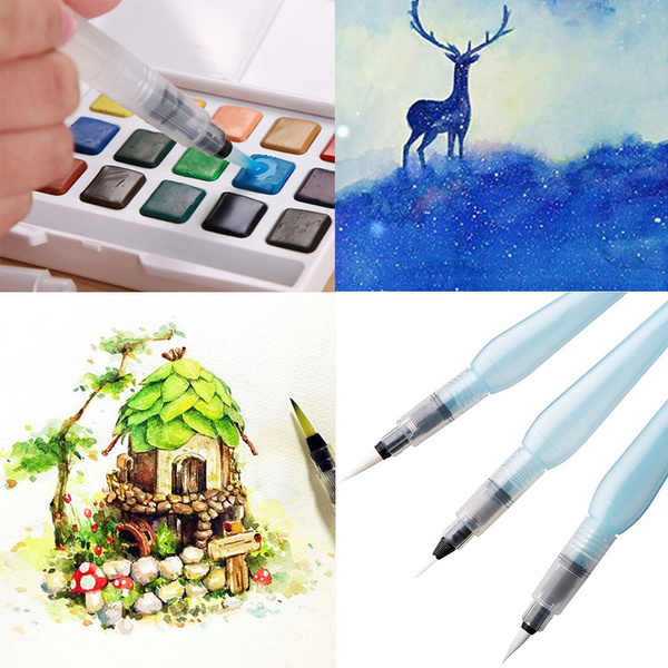 Fiber Hair Refillable Water Brush Pen Art Watercolor Painting Calligraphy Pencil