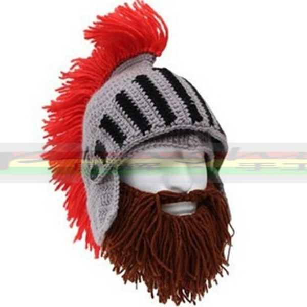 59deba84383 Red Tassel Cosplay Roman Knight Knit Helmet Men s Caps The Original ...