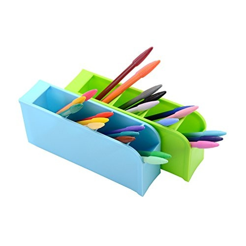 Wish Kids Desk Pen Organizer Marker Storage Supply Caddy School Supplies Holder For Gel Pens Paint Brushes Color Pencils 4 Colors 16 Compartment By Ning