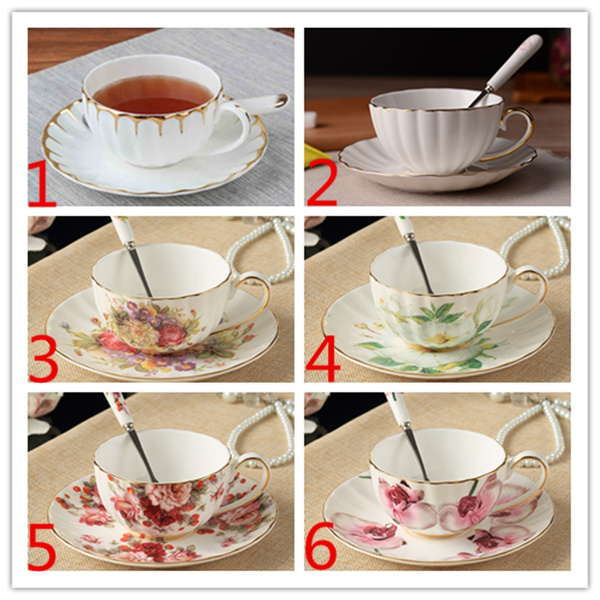 200ml European British Style Ceramic Bone China Coffee Cup Saucer Set Black  Tea Cup Milk Mug with Spoon(1 cup, 1 saucer, 1 Spoon, Purchase two set,