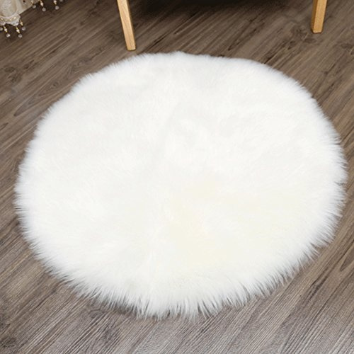 Admirable Yj Gwl Faux Sheepskin Rug Cozy Shaggy Floor Mat Round Silky Plush Carpet Home Decorator Faux Fur Area Rugs 4 Diameter White Pabps2019 Chair Design Images Pabps2019Com