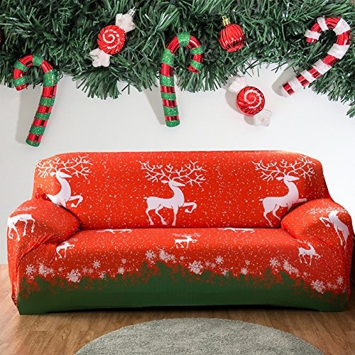 Tremendous Forcheer Christmas Home Decorations Stretch Couch Covers Sofa Slipcovers Cartoon Printed Loveseat Cover Armchair Furniture Protector Christmas Elk Pabps2019 Chair Design Images Pabps2019Com