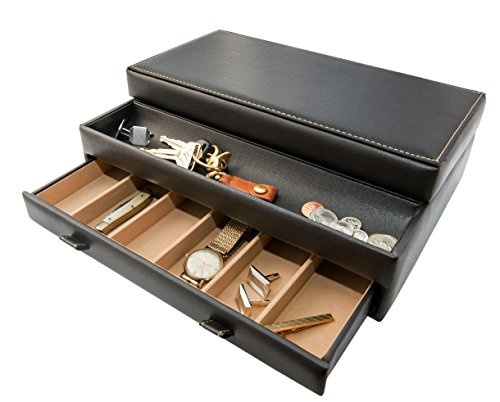 Wish Stock Your Home Luxury Men S Dresser Valet Organizer For Watches Jewelry Accessories Large Holder Display Case Faux Leather