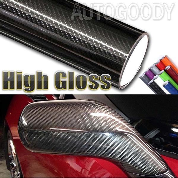 5D High Gloss Black Carbon Fiber Vinyl Wrap Bubble Air Release Sticker For Car