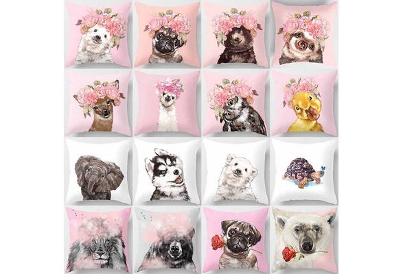 Pink Animal double-sided pillowcase home decoration car sofa cushion (45 * 45cm)