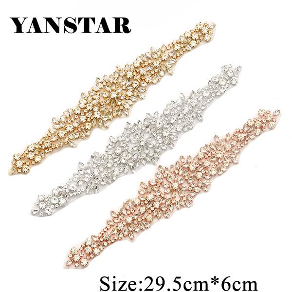 814441f42b YS846 1 Piece 28.5cm*5.5cm Handmade Rhinestone Applique Sparkle Crystal  Rose Gold Sewing On Wedding Dress Belt Bridal Accessories