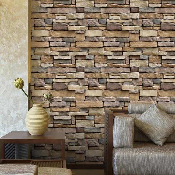 1pcs Creative Diy Self Adhesive 3d Brick Wallpaper Wall Sticker Stone Mosaic Wallpaper Roll Size45100cm