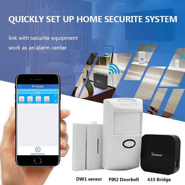 Sonoff RF Bridge WiFi 433 MHz Replacement Smart Home Automation Universal  Switch Intelligent Domotica Wi-Fi RF Remote Controller with A PIR2 Doorbell