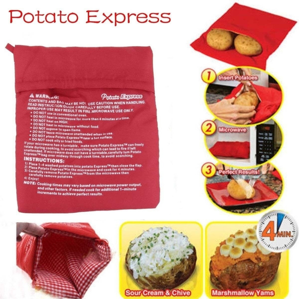 Potato Express Microwave Cooker Bag 4 Minutes Fast Reusable Washable