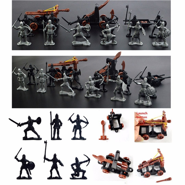 14Pcs Plastic Knights Catapult Crossbow Medieval Toy Soldiers Figures  Playset