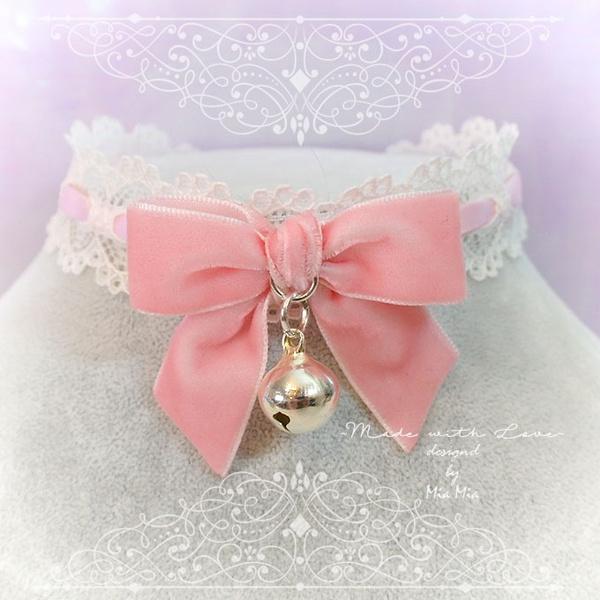 55a11b89157e5 Kitten Play Collar Daddys Girl Choker Necklace Baby Pink Lace Velvet Bow  Bell kitty pastel goth Lolita Neko Cat BDSM DDLG