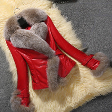 furcollarcoat, shortcoat, Slim Fit, fur