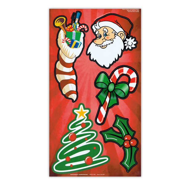 Tall Christmas Tree Cartoon.Magnet Variety Pack 5 Magnets Christmas Tree Candy Cane Santa Claus Holly Refrigerators Cars Mailboxes Decoration 3 5 To 5 75 Tall