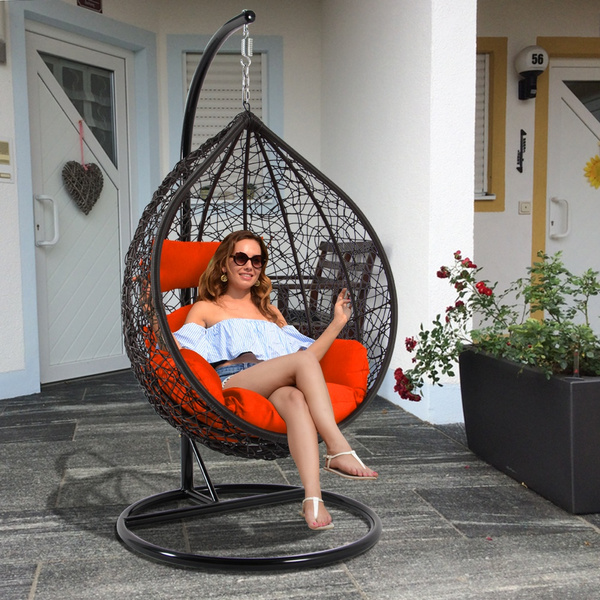 Pleasing Dubai Luxury Porch Pod Chair Wicker Swing Egg Chair Outdoor Hanging Hammocks W Stand Patio Hanging Egg Chair Furniture Brown 6 Color Option Free Caraccident5 Cool Chair Designs And Ideas Caraccident5Info
