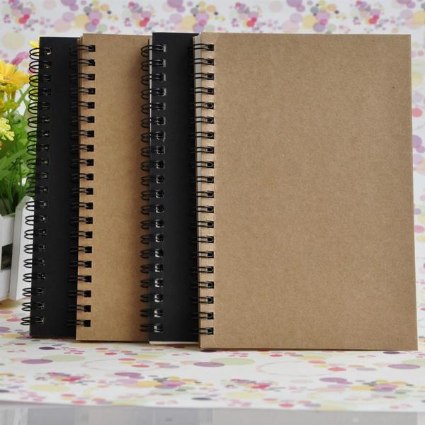 50 Sheets Spiral Bound Coil Sketch Book Blank Notebook Kraft Sketching Paper